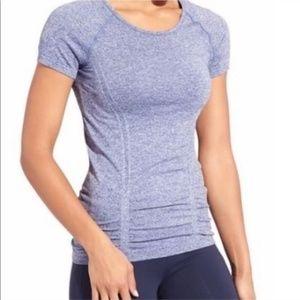 Athleta Fast Track Short Sleeve Tee Heathered Blue